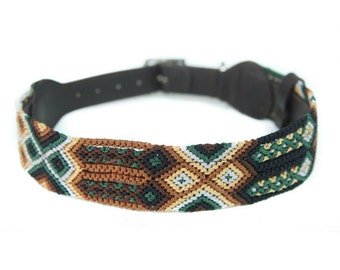 Moss Dog Collar - Green/Brown
