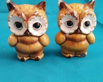 Lefton Brown Owl Salt and Pepper Shaker Set/Owl Salt & Pepper Shakers/Lefton Salt and Pepper Shaker Set/Vintage Owl Salt and Pepper Shakers