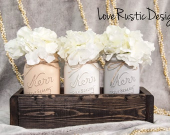 Rustic Mason Jar Centerpiece, Table Centerpiece, Rustic Home Decor, Mason Jar Decor, Mason Jar Centerpieces, Canada, Housewarming Gift