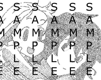 Anohana Menma and Jintan Micrography Anime Character Print (Made with Only Words!)
