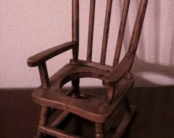 vintage outdoor decor dollhouse miniature wooden rocking chair model brown miniature wooden rocking chair - Wood Rocking Chair