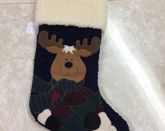 Blue Reindeer Stocking