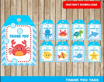 Under The Sea tags; printable Under The Sea Thank you Tags, Under The Sea party tags instant download