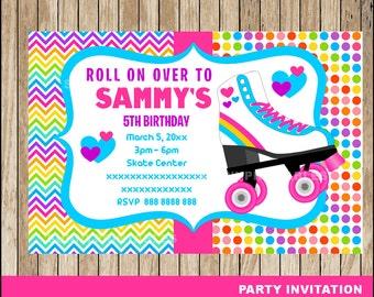 Roller Skating invitation; Roller Skating Birthday invitation, Roller Skate party Invitation Digital File
