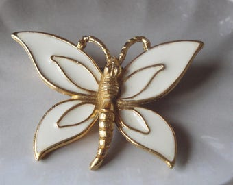 Vintage Florenza Butterfly Brooch  Gold And White Enamel