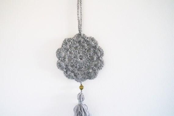 Grey Rear View Mirror Charm Crochet Circle Wall Hanging Decor