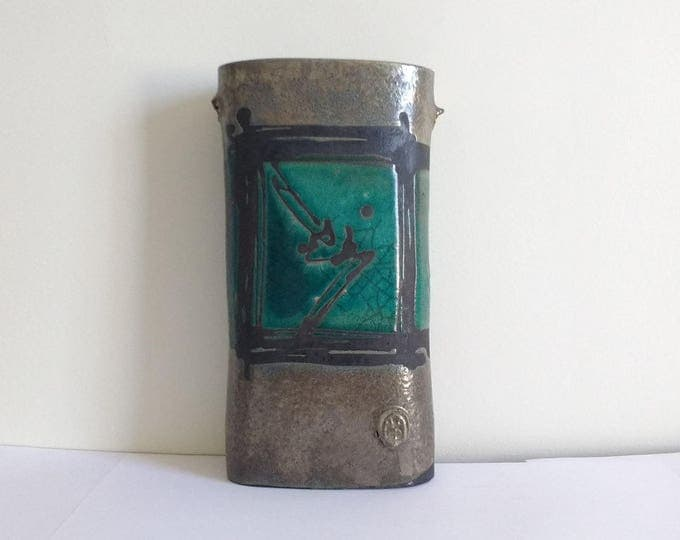 Handmade and signed pottery art vase, wall planter, handbuilt slab vase, paint brush holder