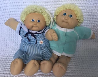 Cabbage Patch Kids, 2 Dolls, Blonde, 1985, OK Factory, KT Factory, One Tooth