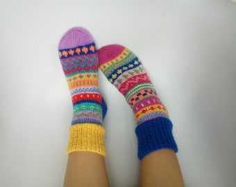 Hand knitted socks gift Women's Warm men socks Colorful knitted Winter socks Colorful elegant stylish socks