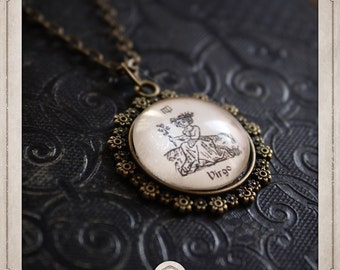ZODIAC sign VIRGO Virgo necklace bronze pendant and glass cabochon 20mm, astrology, fortune-telling, destiny, COC031