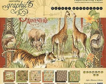 GR 45 Safari Adventure 12 x 12, Graphic 45 Paper, Scrapbooking Paper, Crafting Paper