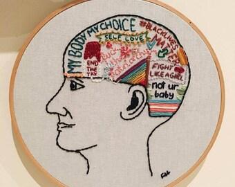 Feminist Mind Embroidery Hoop