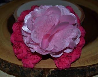 Pink flower hair clip set