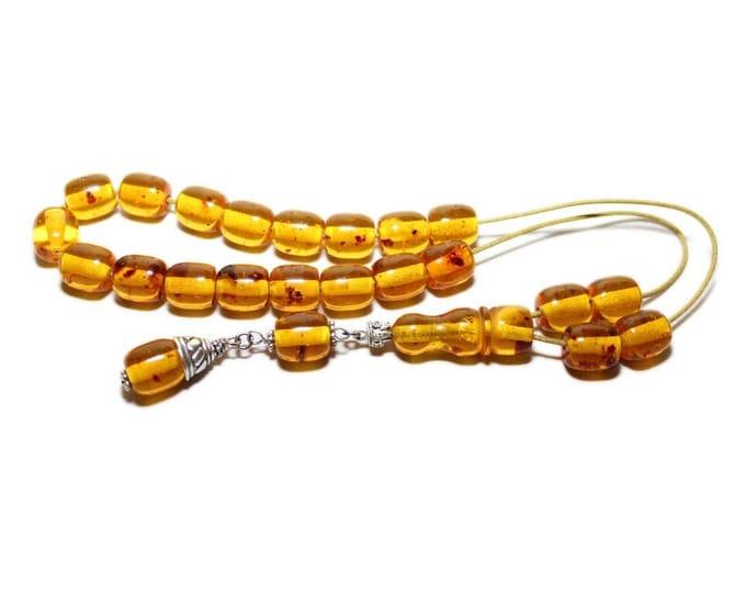 Worry Beads, Greek Komboloi, Baltic Amber color, Barrel shape beads, tasbih, Relaxation, Meditation.
