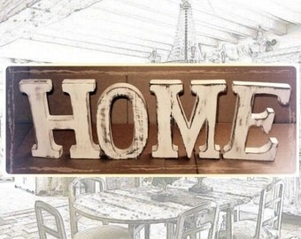 """Large SHABBY CHIC Distressed Whitewashed Wood """"HOME"""" Letters Gift Wedding Home"""