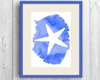 Beach Print, Ocean Art, Starfish Print, Beach Decor, Printable Art, Starfish Artwork, Blue Art Print, Ocean art, Blue watercolor print