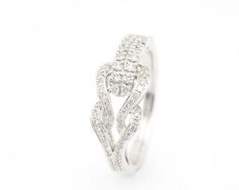 18K White Gold Unque Double Row Sideway Heart Buckle 0.36CT Diamond Band Ring