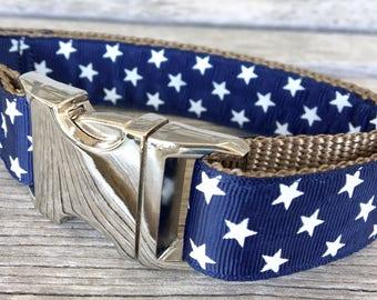"Stars on Navy Blue 1"" Dog Collar, 4th of July Dog Collar, Stars Dog Collar"
