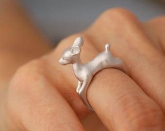 animal ring, Bambi ring, Deer Ring, Retro Ring, Adjustable ring, gold ring, silver ring, 3D Animal Ring, band ring, wrap ring, midi ring