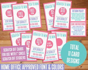 SALE! Unicorn Scratch Off Cards, Customized, Personalized, Business Cards, Loyalty, Marketing, Scratch to Win, Fashion Consultant Cards, LLR