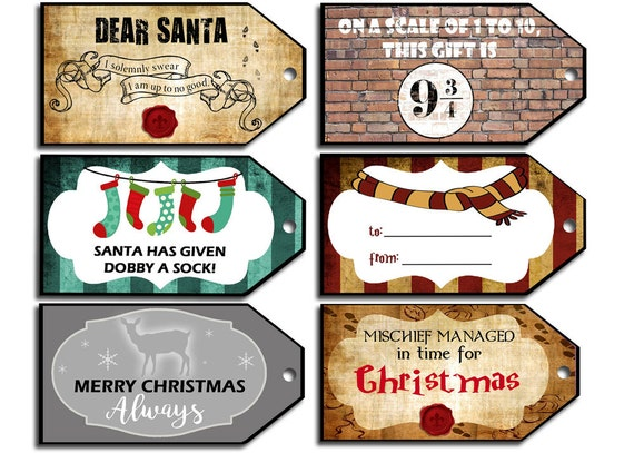 Wizard Christmas Tags harry potter labels harry potter tag