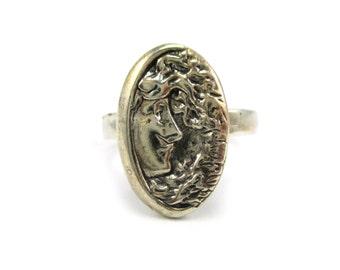 Custom Sterling Silver Profile Cameo Design Ring Size 6