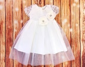 Tulle infant dress, lace baby girl's christening gown, baptismal gown, white church dress, communion girl's dress, infant baptism gown
