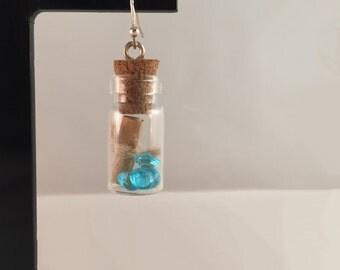 Handmade message in a bottle vial earrings