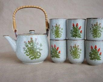 Vintage Takahashi San Francisco Stoneware Tea Set Teapot & 4 Cups ~ Red wild Flowers