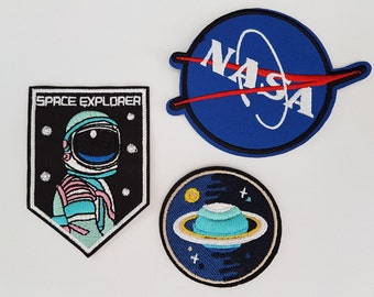 Nasa Space Explorer astronaut & Planets 3 pack Iron On Patch Sew On Transfer Badge's