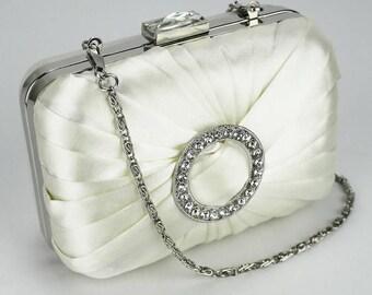 Ivory Gorgeous Satin Brooch Square Hard Case Ivory Evening Bag - Bridal / Prom BAG23