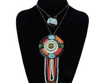 Boho Inspired Beaded Pendant Necklace NK7011
