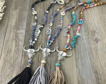 Long Funky Boho Grey Silver & Beaded Necklace (middle necklace in picture)