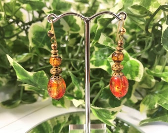 A Beautiful Pair of Vintage Orange and Yellow Glass Bead Drop Earrings - Pierced