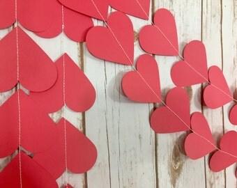 Hearts Garland, Valentine's Day Garland, Red Hearts, Happy Valentine's Day, Birthday, Bridal Shower, Baby Shower, Decorations