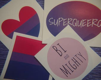 Square Pride Flag / Love Heart Pride Flag / Superqueero / Bi and Mighty Sticker Pack of Four