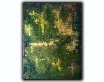Original ABSTRACT PAINTING 40x30 Large Canvas Art Green Abstarct Original Artwork Large Painting Green Painting Textured Painting Modern Art