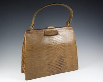 Ultra chic!  Tegu Lizard Kelly style handbag by Palizzo Very New York 50's 60's Immaculate!