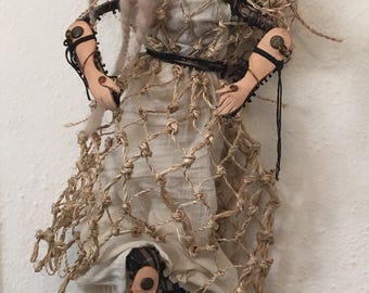 Multi textured wire wrapped art doll