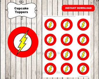 The flash logo toppers instant download , The flash cupcakes toppers labels, Printable The flash toppers