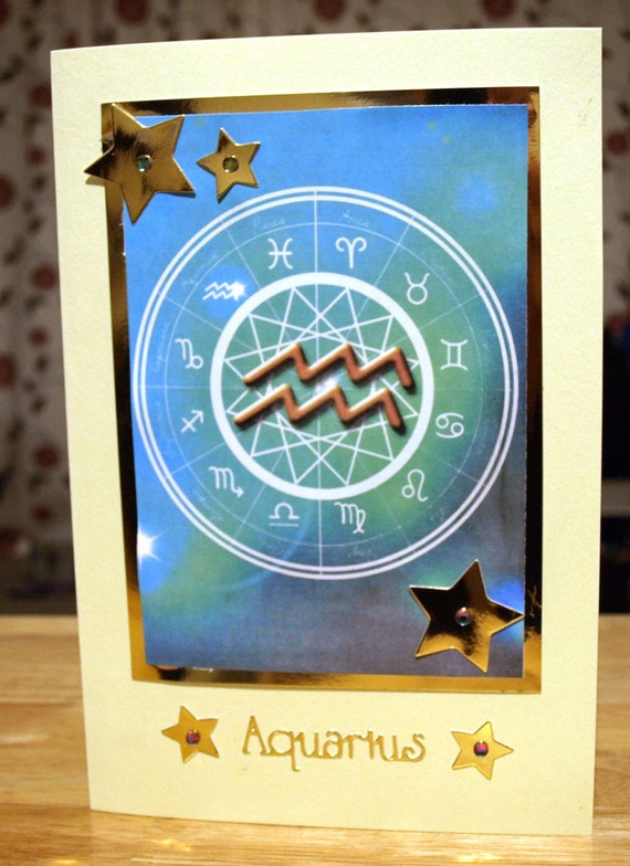 Aquarius Horoscope/Zodiac/Star Sign Handmade Birthday Card - Jan 20 to Feb 18 - luxury personalised unique quality special astrological UK