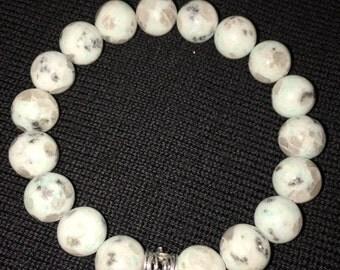 10mm Lotus Jasper Gemstone Bracelet, Womens Bracelet