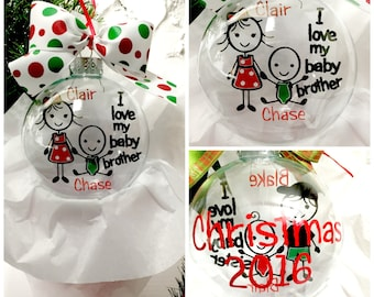Big Sister Baby Brother Ornament ~ Sibling Ornament ~ Custom Ornament ~ Personalized Ornament~ Floating Ornament