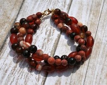 Three Strand Orange Beaded Bracelet, Agate Beaded Bracelet, Gold Beaded Bracelet, Brown Beaded Bracelet, Orange Beaded Bracelet, Mulitstrand