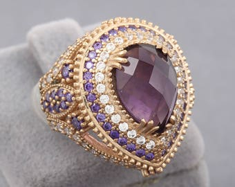 Hurrem Sultan Ring, Ottoman Style Handmade Amethyst Stone 925 Solid Sterling Silver Bronze Ring Size 7 - 10.5 US