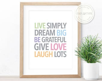Dream house etsy for Live simply wall art