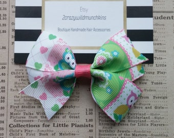 Owl Hair Bow, girls hair bows, party favors, stocking stuffers