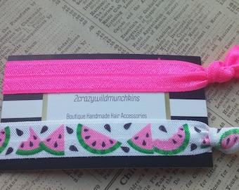 Watermelon Elastic Hair Ties, watermelon party favors, summer hair, hair accessories