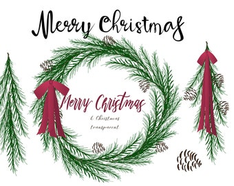 Instant Download - Christmas wreath and greens digital png files for cards, scrapbooking, clip art, signs...