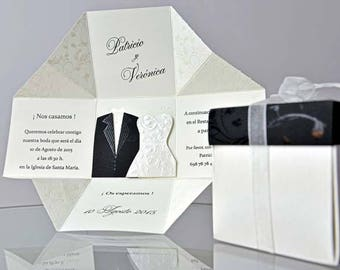 Wedding Invitations Box Style Wedding Invitations Black White Wedding  Invitation Funny Wedding Invitation Personalized Wedding Invitations